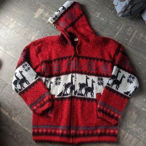 Vintage Andes Artesania Wool Llama Full Zip Jacket
